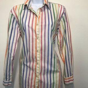 Vintage Rainbow Button Down Shirt Blouse Sz 10